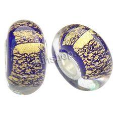 Lampwork Perlen European Stil, Rondell, handgemacht, einadriges Kabel Messing ohne troll & Goldfolie, violett, 14x8mm, Bohrung:ca. 4mm, 100S...
