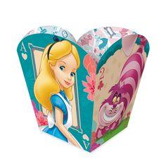 Cachepot Alice no País das Maravilhas. Coloque Marshmallows, Docinhos ou Salgados e enfeite a mesa principal e a dos convidados.
