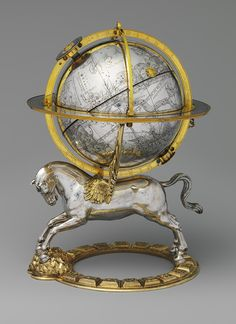 Celestial Globe with Clockwork, dated 1579.  Made in Vienna, Austria  Case of silver and gilt brass; movement of brass and steel.