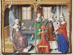 A group of women spinning. From an  illuminated medieval manuscript | The Hague, MMW, 10 A 11 fol. 69v | Koninklijke Bibliotheek | http://manuscripts.kb.nl/