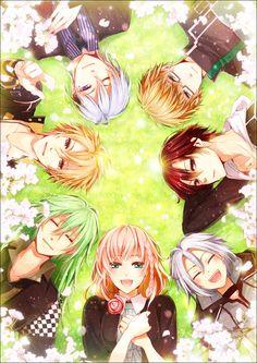 Amnesia - Orion, Ukyo, Shin, Toma, Kent, Ikki and heroine