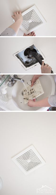 Learn how to clean a bathroom exhaust fan in under ten minutes! No more wet walls and foggy mirrors after a shower! *Click image for source.* Let's connect for more inspiration, ideas & TIPS! Household Cleaning Tips, Deep Cleaning Tips, Cleaning Recipes, House Cleaning Tips, Natural Cleaning Products, Cleaning Solutions, Wall Cleaning, Spring Cleaning Tips, Move In Cleaning