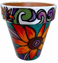 Items similar to Bouquet of Sunflowers - Original Hand Painted Terracotta Flower Pot on Etsy Flower Pot Art, Flower Pot Design, Clay Flower Pots, Terracotta Flower Pots, Painted Flower Pots, Painted Pots, Clay Pots, Clay Pot Crafts, Diy Crafts