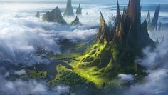 ArtStation - Above the Clouds, Isaac Yeram Kim Fantasy Art Landscapes, Landscape Artwork, Fantasy Landscape, Environment Concept Art, Environment Design, Fantasy Male, Fantasy World, Medieval World, Fantasy Places