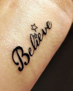 Believe tattoo, below Tink on hand, love the stars.