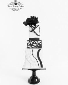 Black & White - The Z Stripes Collaboration - Cake by Sweet Side of Cakes by Khamphet Black Wedding Cakes, Beautiful Wedding Cakes, Gorgeous Cakes, Amazing Cakes, Pretty Cakes, Modern Cakes, Unique Cakes, Elegant Cakes, Black White Cakes