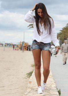 outfits con short jean de mezclilla - Buscar con Google