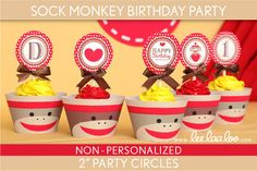 Sock Monkey Birthday Party 2 inch Party Circles & Bonus: Cupcake Wrappers NonPersonalized Printable // Sock Monkey - B46Nd on Etsy, $5.00
