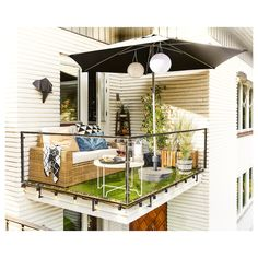 Get inspired with our outdoor design ideas. Our outdoor design gallery highlights multiple outdoor spaces in a variety of styles featuring IKEA products. Apartment Balcony Decorating, Apartment Balconies, Small Balcony Decor, Small Patio, Balcony Ideas, Small Balcony Furniture, Ikea Garden Furniture, Outdoor Furniture Sets, House Balcony Design