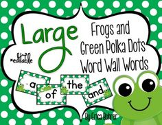 LARGE Frog Themed Word Wall Words {Editable}