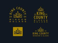 King County Window & Glass by Emir Ayouni for The Forefathers Group on Dribbble Window Glass Design, King County, Crown Logo, Saint Charles, Show And Tell, Company Names, Windows, Lettering, Group
