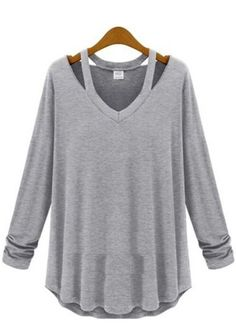 Light Grey Plain Hollow-out Long Sleeve Cotton T-Shirt #friki #hipster #camiseta #camisetaes