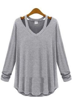 Light Grey Plain Hollow-out Long Sleeve Cotton T-Shirt #friki #hipster #camiseta #camisetaes