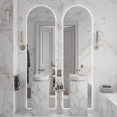 Bathroom some ideas, master bathroom remodel, master bathroom decor and bathroom organization! Master Bathrooms can be beautiful too! From claw-foot tubs to shiny fixtures, these are the master bathroom that inspire me the essential. White Marble Bathrooms, Bathroom Design Luxury, Bathroom Designs, Bathroom Ideas, Houzz Bathroom, Ocean Bathroom, Bathroom Niche, Gold Bathroom, Luxury Bathrooms