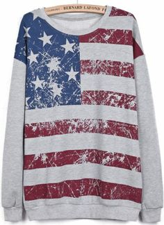 Grey Long Sleeve Striped Stars Print Sweatshirt pictures