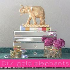 DIY gold elephant, painting dollar store toys, gold leaf