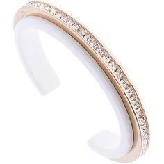 Karen Millen Tropical Crystal Light Slim Cuff (8.945 HUF) ❤ liked on Polyvore featuring jewelry, bracelets, swarovski crystal bangle, cuff bangle, gold tone jewelry, swarovski crystal jewellery and crystal bangles