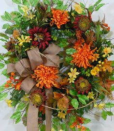 XL Door Wreath Fall Festival of Colors with Burlap Bow by LadybugWreaths, $229.97