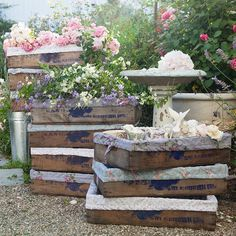old blueberry crates lined with lovely fabric = darling!