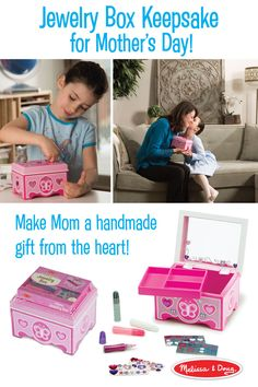 Mom will love having a special place to keep her trinkets and treasures. And this simple kids' craft requires just a little skill for a lot of wow! Kids add their own creative touches to the Melissa & Doug Decorate-Your-Own Wooden Jewelry Box, which features a mirror inside the lid and a velvet ring holder. The craft kit includes sparkling gems, shimmering stickers, and glitter glue to adorn the pretty pink surface.