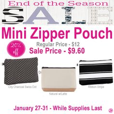 Thirty-One Mini Zipper Pouch is 20% off during End of the Season Sale
