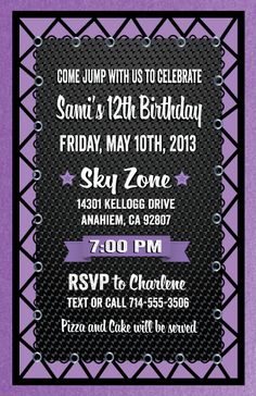 Birthday Invitation Skyzone Jump Neon Kids Products and Ps