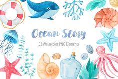 Shop 11 products by Font Bundles Store on Design Bundles Bullet Journal Watercolour, Shark Drawing, Watercolor Ocean, Poster Fonts, Bullet Journal Themes, Nautical Theme, Craft Work, Free Design, Design Elements