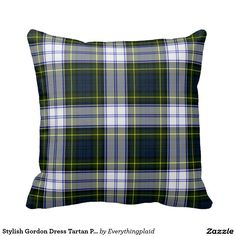 Gordon Blue and Green Dress Tartan Plaid Pillow
