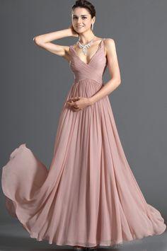 2012 A-line Light Pink Beaded V-neck Chiffon Floor Length Evening/ Prom Dresses For Cheap LPD312001