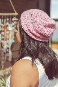 diy pink crochet slouch hat pattern