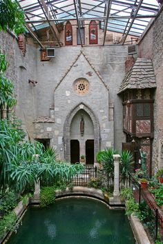 Saki's World :: the atrium pool at Hammond Castle :: view_from_the_bridge_between_the_courtyard_and_Gothic_bedrooms Gothic Castle, Gothic House, Gothic Mansion, Hammond Castle, Inside Pool, Gothic Bedroom, Castle House, Medieval, Beautiful Villas