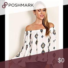 Host Pick 💕💕 Aztec  print Off the shoulder top. Aztec Print off the shoulder tops with bell sleeves. Tops