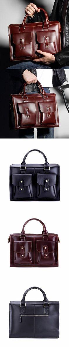 New Arrival Men Briefcase Full Grain Leather Shoulder Messenger Bag Tote Laptop Bag W8030