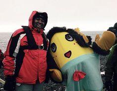 Funassyi and Antony on Half Moon Island, Antarctica.
