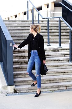 How to wear: pointed loafers, zara shoes, minimalist outfit, black trench coat style, katiquette