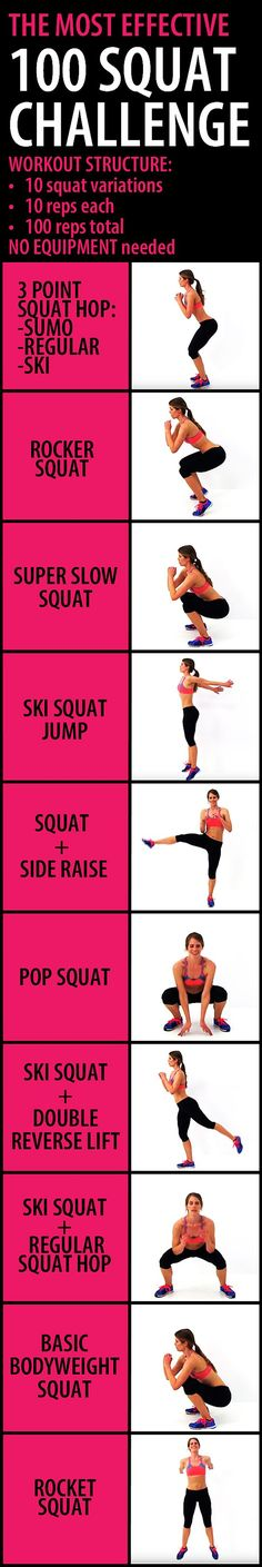 100 SQUAT CHALLENGE to seriously lift & shape your butt and thighs. It combines 10 different squat variations in order to target all of those glute muscles, from multiple angles, making it more effective than hundreds of repetitions of the same exact motion. For the best results do this routine up to 4-5 times a week. You will start to see small changes in your body in as little as a week or two, but more noticeable changes will occur in 3-4 weeks. #gluteworkout #workoutforwomen #bum #booty