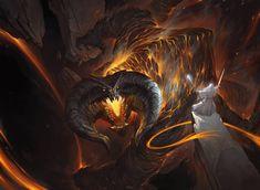 HD wallpaper: Gandalf, Balrog, The Lord of the Rings, artwork, fantasy art Gandalf Balrog, Balrog Of Morgoth, Legolas, Fili Y Kili, Beautiful Scenery Wallpaper, Animated Wallpapers For Mobile, Desktop Wallpapers, O Hobbit, Hobbit Art