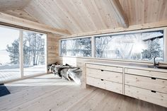 Creative reuse of existing structures resulted in this small log cabin on the shore of Femunden a large lake near Norways border with Sweden. The property was originally home to a pair of o Cabin Interiors, Wood Interiors, Küchen Design, House Design, Interior Design, One Room Cabins, Small Log Cabin, Log Home Decorating, Timber House