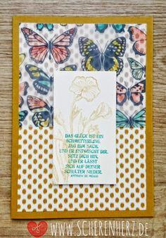 Schmetterlingsgrüße - Ocker und bunt www.scherenherz.de