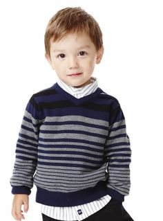 Look at this RUUM Navy Variegated Stripe Sweater - Infant, Toddler & Boys on today!Children and Young Baby Knitting Patterns, Baby Cardigan Knitting Pattern Free, Knitting For Kids, Knit Baby Sweaters, Boys Sweaters, Cute Outfits For Kids, Boy Outfits, Toddler Boys, Infant Toddler