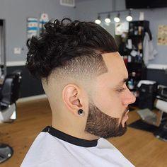 Curly Slick Back Hair + Undercut + Line Up + Beard