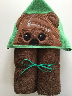 "Furry Galaxy Bear Applique Hooded Bath, Beach Towel 30"" x 54"" by MommysCraftCreations on Etsy"