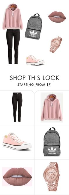"""#school #outfit #lovely #cool"" by ivaila2 ❤ liked on Polyvore featuring Converse and adidas"