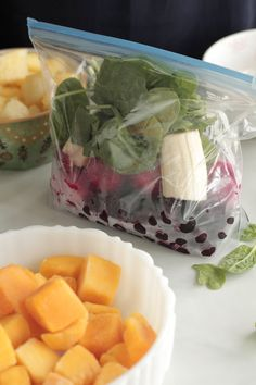 DIY Freezer Smoothie Packs  (frozen in single serve baggies)  Build your own smoothie pack recipe: 2 cups fruit, 1 sliced banana, 1 cup greens (optional). •Add 1 cup of liquid (water, coconut water, juice, milk) to the blender, add frozen smoothie pack contents. •boost with chia, flax, nuts, coconut butter, etc....