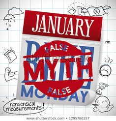 Loose-leaf calendar with myth busted stamp for Blue Monday and it's nonsensical measurements: bad weather, depression, stress and financial overwhelm. Depression, Calendar, Stress, Weather, Stamp, Blue, Art, Illustrations, Pictures