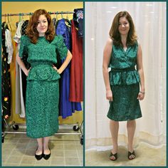 One of the Great Fashion Truths is that redheads look fabulous in green! :) For this refashion, I ripped out the sleeves and restitched the arm holes. Then, I raised the hem and made the button-u…