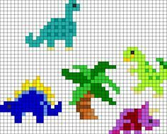 Playset Dinosaurs Perler Bead Pattern / Bead Sprite – Projects to Try – Hama Beads Kandi Patterns, Pearler Bead Patterns, Perler Patterns, Beading Patterns, Small Cross Stitch, Cross Stitch Animals, Cross Stitch Designs, Cross Stitch Patterns, Perler Bead Art