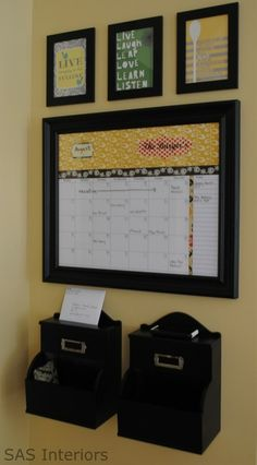 can't hand a calendar on the fridge.... dry erase calendar in frame