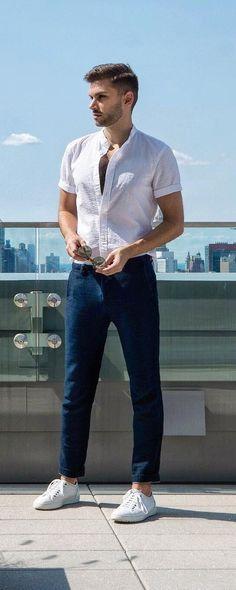 aaron wester white shirt look