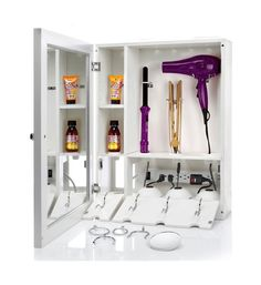 The bathroom cabinet is wall mounted one, it doesn't take up your place. The design of the bathroom cabinet is reversible for left- or right-hand opening. The door of cabinet can be opened with which you can easily access. Care Organization, Bathroom Organisation, Bathroom Storage, Rv Bathroom, Hair Dryer Storage, Hair Tool Organizer, Cabinet Making, Beauty Room, Storage Solutions